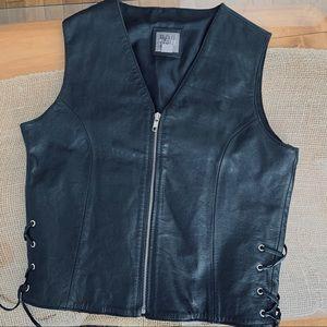Wilson's Leather Rare Black Vest Side Ties